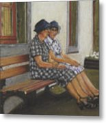 Friends Seated In Bench Metal Print by Leonor Thornton