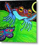 Frog Moon And Butterfly Metal Print