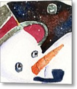 Frosty And The Moon Metal Print by Mindy Newman