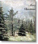 Frosty Christmas Card Metal Print