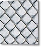 Frosty Fence Metal Print
