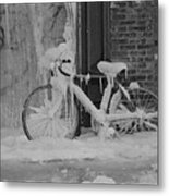 Frozen Bike Metal Print