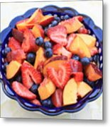 Fruit Salad In Blue Bowl Metal Print