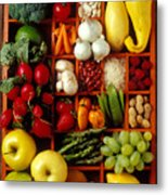 Fruits And Vegetables In Compartments Metal Print by Garry Gay