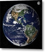 Full Earth Showing North And South Metal Print
