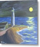 Full Moon Lighthouse Metal Print