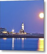 Full Moon Over Scituate Light Metal Print