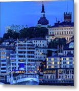 Full Moon Over The Katarina Church And Sodermalm In Stockholm Metal Print