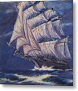 Full Sails Under Full Moon Metal Print