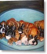 Funny Puppies Orginal Oil Painting Metal Print