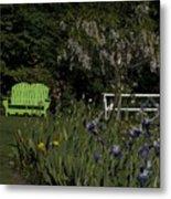 Garden Bench Green Metal Print