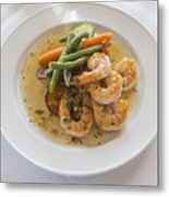 Garlic Prawns Metal Print