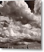 Gathering Clouds Over Lake Geneva Bw Metal Print