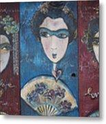 Geisha Love Triptych Metal Print