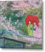 Geishas And Cherry Blossom Metal Print
