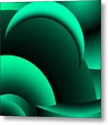 Geometric Abstract In Green Metal Print