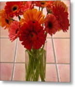 Gerbera Daisies - On Tile Metal Print