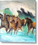 Ghost Horses In Maui Shorebreak Metal Print