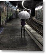 Girl At Subway Station Metal Print