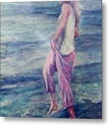 Girl At The Beach Metal Print
