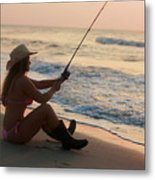 Girl Fishing Metal Print