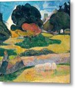 Girl Herding Pigs Metal Print by Paul Gauguin