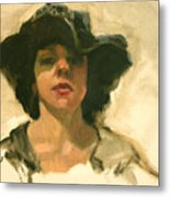 Girl In A Floppy Hat Metal Print