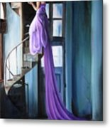 Girl On Staircase Metal Print