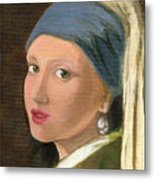 Girl With Pearl Earring Of Vermeer Metal Print