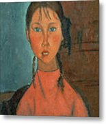 Girl With Pigtails Metal Print by Amedeo Modigliani