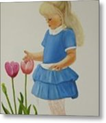 Girl With Tulips Metal Print