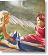 Girls Playing Ball  Metal Print