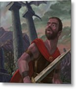 Gladiator Warrior With Monster On Pillar Metal Print