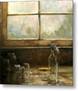 Glass Jars By Window Metal Print