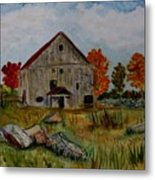 Glover Barn In Autumn Metal Print