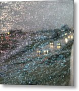 Glowing Raindrops In The City Metal Print
