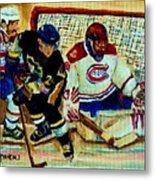 Goalie  And Hockey Art Metal Print