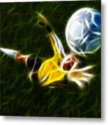 Goalkeeper In Action Metal Print by Pamela Johnson
