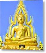 Gold Buddha Statue Metal Print by Somchai Suppalertporn