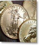 Golden Coins Metal Print