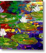 Golden Lights On Lily Pond Metal Print
