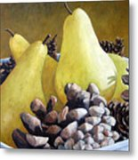 Golden Pears And Pine Cones Metal Print