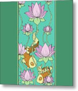 Goldfish And Lotus Metal Print