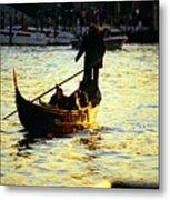 Gondola Ride At Sunset In Venice Metal Print