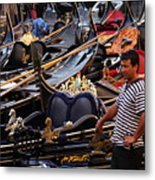 Gondolier In The Morning Metal Print
