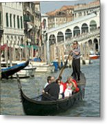 Gonfolas On Venice Canal At Rialto Bridge Metal Print