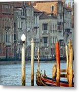 Grand Canal In Venice With Light On Pole Metal Print