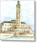 Grand Mosque Hassan II  Front Side Metal Print