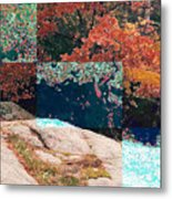 Granite Outcrop And Fall Leaves Aep3 Metal Print