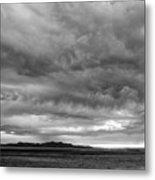 Great Salt Lake Clouds At Sunset - Black And White Metal Print